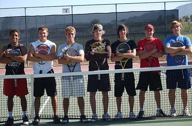 VVN/Wendy Phillippe (L-r) Mingus boys tennis team: Layton Dickerson, Tanner Walz, Alex Lineberry, Paul Paradise, Jesse Salterberg, Brian Thieme and Jeff Pottorff.