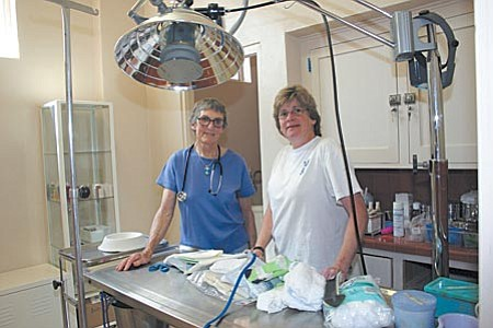 The Jerome Humane Society will hold a grand opening this Saturday and Sunday to celebrate the completion of a six-year renovation project that included this new treatment room. Marge Mitchell, left, and Sally Dryer both serve as volunteers for the clinic and as officers for the society.