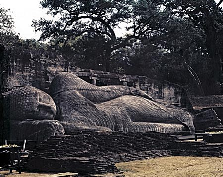 The Reclining Buddha in Sri Lanka is 60-feet long and was sculpted from living granite.