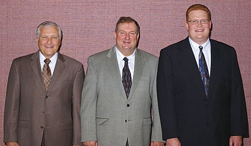 Bishop William Olson (center) with counselors Gary R. Romig and Timothy Raban.