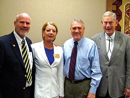 Courtesy photo From left, Clarkdale Mayor Doug Von Gausig, Mayor Karen Fann of Chino Valley, U.S. Senator Jon Kyl and Mayor Jack Wilson of Prescott.