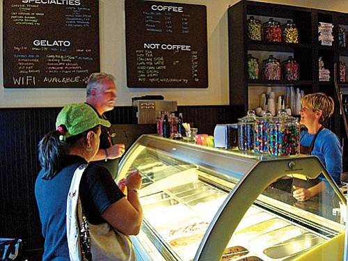 Crema Coffee and Creamery serves small-batch gelato ice cream in Old Town Cottonwood.  The Creamery also serves bulk candies, baked goods, coffee, tea and espresso. Owner Kelly Foy used to own the Red Rooster Cafe in Jerome.