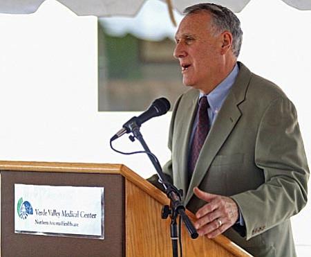 Matt Hinshaw/VVN Arizona U.S. Senator Jon Kyl addresses the crowd during the Verde Valley Medical Center expansion dedication Friday afternoon in Cottonwood.