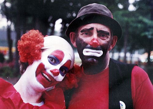 In clown makeup with partner at Magic Harbor, Myrtle Beach, S.C., in 1979.