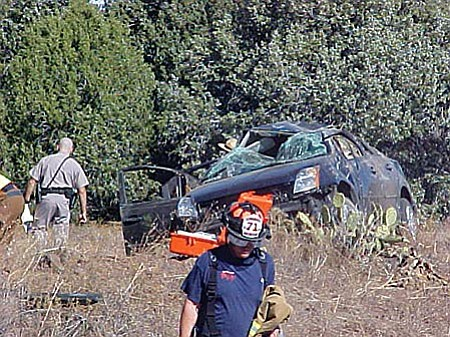 Photo courtesy of Montezuma-Rimrock Fire Dept. Both driver and passenger received non-life threatening injuries following this rollover accident on Interstate 17 near milepost 303 early Monday. One had head, neck and back pain and they were transported to the Verde Valley Medical Center by Montezuma-Rimrock Fire District ambulance.