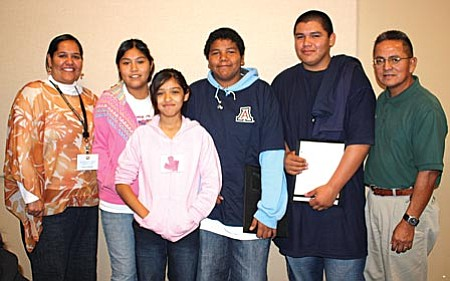 Yavapai-Apache Nation Tribal Councilwoman Cora-Lei Marquez (far left) with students from the Yavapai-Apache Nation during the 2008 American Indian Youth Conference in Tucson.  Contributed photo