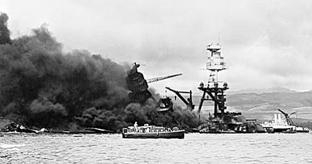 U.S. Navy archive photo USS Arizona sinking at Pearl Harbor, Dec. 7, 1941.