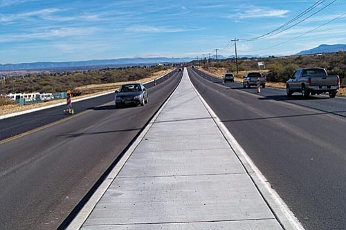 VVN/Jon Hutchinson<br> Traffic is now moving freely in both directions with the addition of two new lanes on SR 89A through Clarkdale. Crews were applying the rubberized top-coat this week.