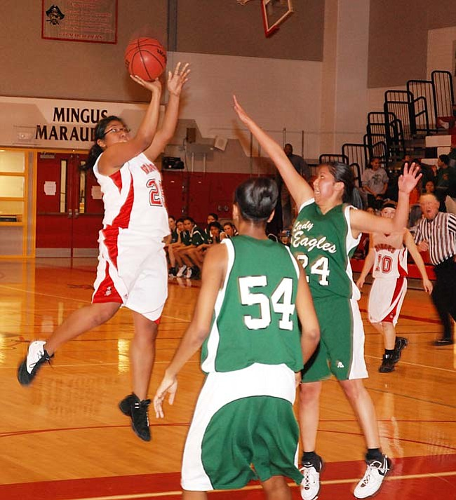VVN/J. Pelletier Shaina Gyce goes for two against Flagstaff Tuesday night.