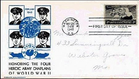 In 1948, the U.S. Postal Service issued a stamp commemorating the heroism displayed by the four chaplains during the tragic sinking of the USAT Dorchester in Feb. 3, 1943.