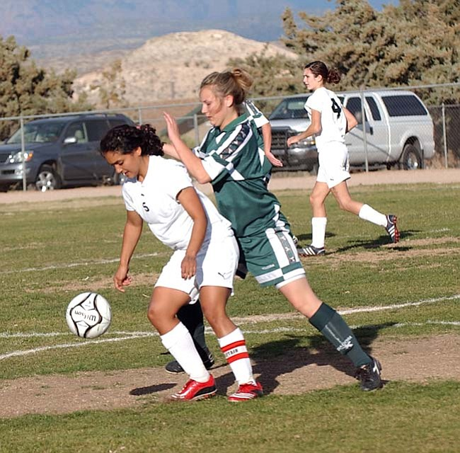 VVN/Wendy Phillippe The Mingus girls soccer team plays with a lot of intensity and will face off against Douglas today in the semifinal round of the State Tournament.