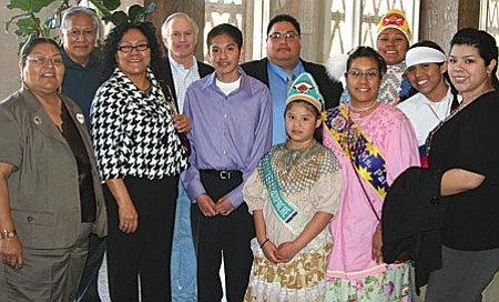 Chairman Thomas Beauty and tribal council members with District 1 Senator Steve Pierce and the Yavapai-Apache UNITY Youth Council during the Arizona Commission on Indian Affairs Tribal Legislative Day.