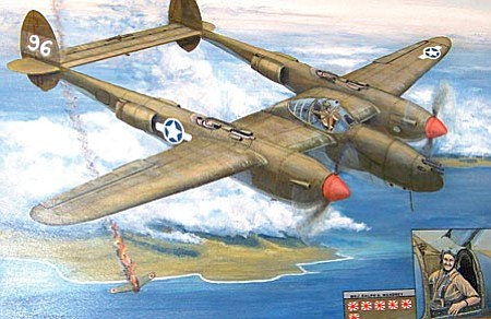 A painting of Ralph Wandrey and his P-38.