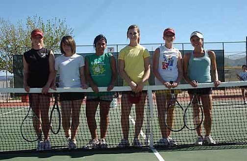 VVN/Wendy Phillippe The Mingus girls varsity tennis team. (L-r) Aly Dorris, Sarah Latham, Kiara Caceres, Jamie Adams, Zoe Morrison and Mikayla Jaraczewski.