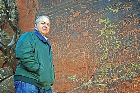 Ken Zoll by the V Bar V petroglyph site