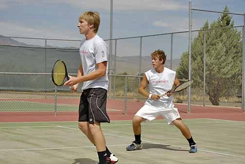 VVN/J. Pelletier (Left) Paul Paradise and (right) Alex Lineberry battle an opponent during a doubles match this season.