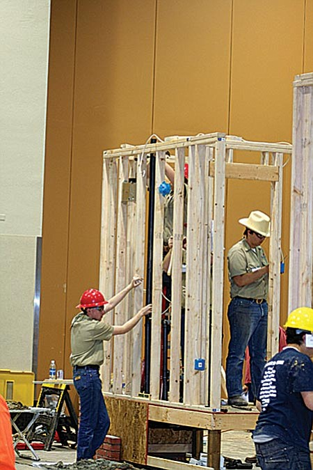 The building trades team from Mingus Union High School worked for two days to build a project that won first place during the SkillsUSA Team Works State competition recently.