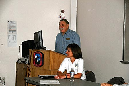 Steve DeVol, President of Keep Sedona Beautiful, speaks in favor of the National Scenic Area (NSA) Designation while USFS Red Rock Ranger Heather Provencio also, on the panel, waits to give the Forest Service perspective on the Designation.
