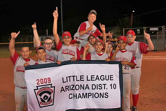 Courtesy Photo The Verde Valley 11-12 All Star Baseball team celebrates after defeating Camp Verde, 5-4 for the District 10 Championship.