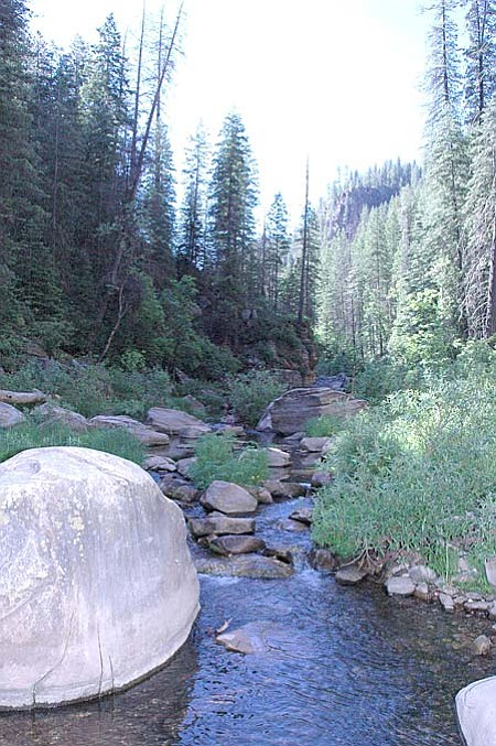 On its lower reach, West Clear Creek Canyon is wide, wet and inviting. But just 4 to 5 miles up it becomes an extremely narrow canyon, passable only by floating ponds and scaling cliffs.