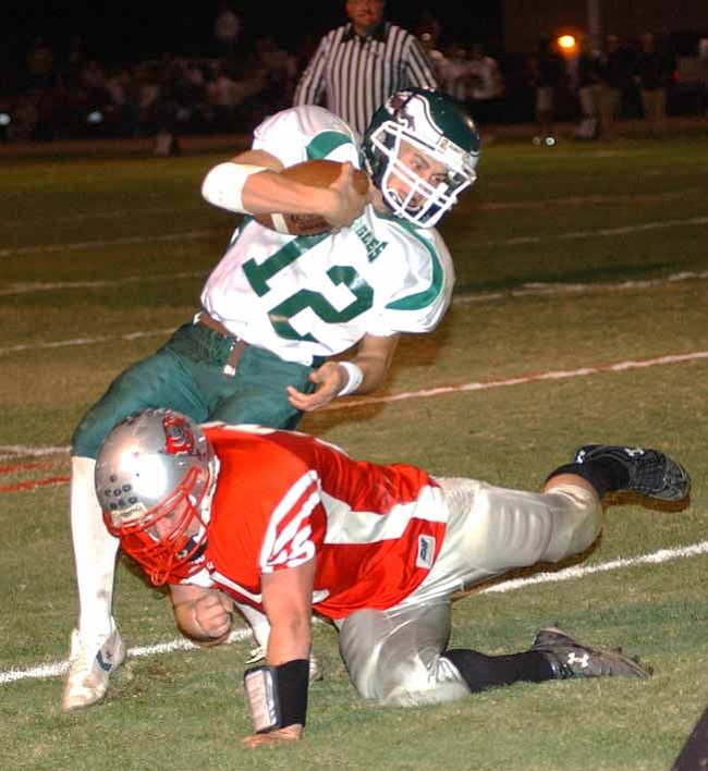 VVN/Wendy Phillippe Tyler Openshaw makes the tackle on a ball carrier late in the 4th quarter.