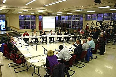 MUHS and C-OC school boards met Tuesday night in joint session to discuss the possibility of unifying the two districts.