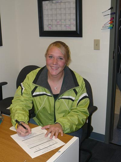 Courtesy Photo<br/>Tessa Fanning signs Letter of Intent to play softball at Yavapai College.