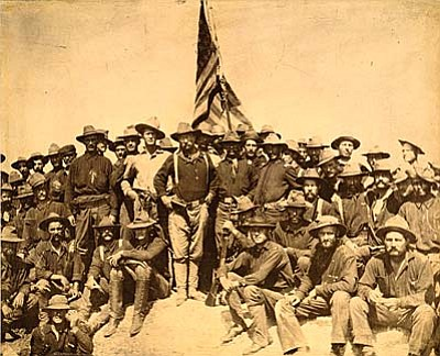 Arizonans, including residents of the Verde Valley, were recruited to be Rough Riders for the Spanish American War, joining future President Theodore Roosevelt (center).