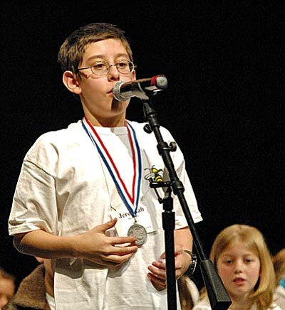 Cottonwood Middle School sixth grader Jeremiah McDowell, 11, made it into round 4 of the Yavapai County Spelling Bee Wednesday at Glassford Hill Middle School in Prescott Valley. Photo courtesy of Prescott Valley Tribune<br/>