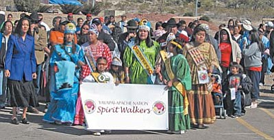 The Yavapai-Apache Nation's royalty pageant was Feb. 20 to kick off a week of Exodus commemoration events. Chosen as the new Miss Yavapai-Apache Nation was Desha Beauty. Philana Grass is Miss Teen Yavapai-Apache Nation; Miss Princess is Trina Honwytewa; Little Missy is Leah Kinsey; Tiny Tot is Kiarah Valles; Baby Girl is Nahimana Fox-Annoh; and Baby Boy is Khale Jackson. Miss Yavapai-Apache Nation leads the annual commemoration walk Feb. 27.<br/>Photos courtesy Judy Piner<br/>