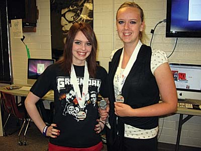 Taylor Starr and Heather Gordon won silver medals in Radio Broadcasting competition during the Arizona Skills USA State Championship for Career and Technology Education students April 12 and 13. Courtesy Photo<br /><br /><!-- 1upcrlf2 -->