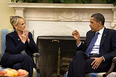 President Barack Obama meets with Arizona Gov. Jan Brewer in the Oval Office, June 3, 2010. (Official White House Photo by Pete Souza)