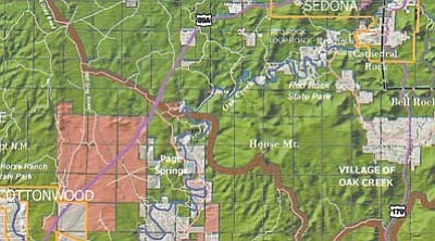 The brown line on the Verde Valley map defines the southern boundary of the proposed National Scenic Area, excluding Cottonwood's proposed annexation of State Trust Land as well as Page Springs.