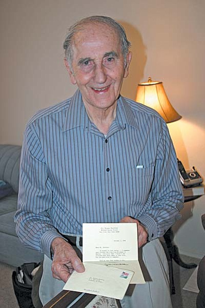 A letter from Jean MacArthur is one of Robert Salkind's favorite souvenirs of World War II. VVN/Philip Wright