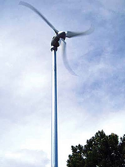 """Courtesy Southwest Windpower<br /><br /><!-- 1upcrlf2 -->Wind generators begin to produce energy at seven miles per hour and have a braking system to shut down when wind speeds reach 50 mph, so there is no """"whine."""""""