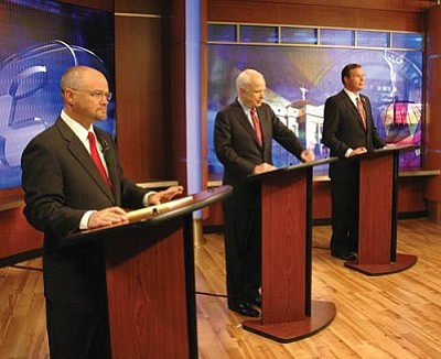 Photo by Howard Fischer/Capitol Media Services<br> Republican candidates for the U.S. Senate debated Friday: from left, Jim Deakin, John McCain and J.D. Hayworth.