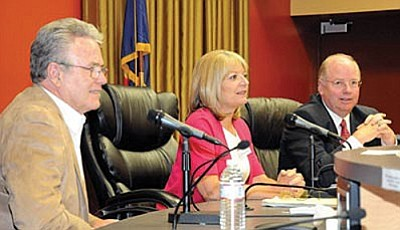 Brett Soldwedel/The Daily Courier<br> Noel Campbell, left, Karen Fann and Andy Tobin, all House of Representative candidates, are all smiles before a debate in Prescott City Hall Thursday.