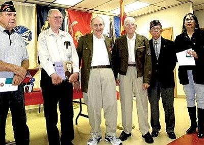 VVN/Jon Hutchinson<br> From left, Frederick Max Klootwyk, Joe Beatty, Robert Salkind, William Farver, Nova C. Frasher and daughter Veronica Contreras for her late father Frank Contreras, who passed this spring. The wife of deceased Sgt. Thomas L. Lester was not able to attend to accept his award.
