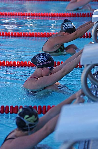 Swimmers prepare for a race at a meet Mingus hosted earlier this year at the Cottonwood Aquatics Center. VVN/Sean Morris