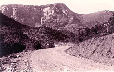 Driving north on Midgely Bridge into Oak Creek Canyon, heading to Flagstaff, you pass over Wilson Canyon and alongside Wilson Mountain. (Photo courtesy of Sedona Historical Society)