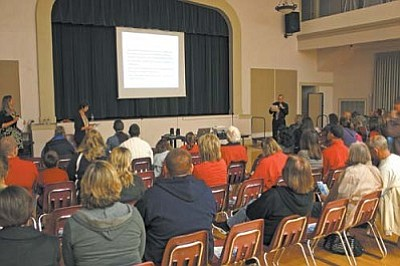 VVN/Philip Wright<br> About 100 people attended an information meeting Monday night at Cottonwood-Oak Creek School District to learn about an International Baccalaureate program being considered by the school board.