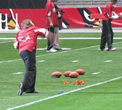 <b>Jacy Finley</b> competes on the field at University of Phoenix Stadium Sunday. Courtesy Photo