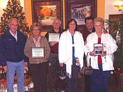 From left, John & Geraldine Perry, Honorable Mention; Galen & Andrea Thomas, Honorable Mention; Reuben & Linda Rodriguez, 1st Place for the Cottonwood Ranch Neighborhood Pride Awards, Fall 2010.