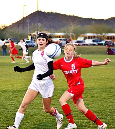 <b>Torey Braly</b> looks to control a bouncing ball against Liberty Tuesday at the Reach 11 Sports Complex in Phoenix. VVN/Sean Morris