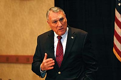 Jon Kyl announced Thursday he will not seek another six years in the U.S. Senate when his current term ends at the end of 2012. Kyl said while the decision may seem sudden, it actually was a long time in the making. In fact, he told reporters he actually weighed stepping down before the 2006 race but stayed in to keep the seat in Republican hands. Photo by Howard Fischer<br /><br /><!-- 1upcrlf2 -->