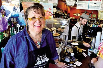 The Verde Pride award for Business of the Year goes to Mary Arkush of Jerona Java Café at 677 E. Mingus Ave. in Cottonwood. The Jerona Java Café offers free wireless Internet access. Anyone who mentions the café's website will get a free coffee on their first visit. Check out the website at jerona.com.