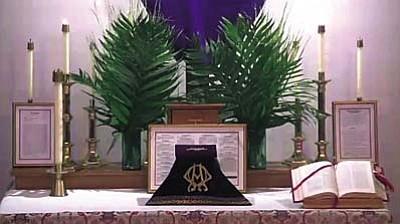 The Palm Sunday altar at St. Luke's Church.
