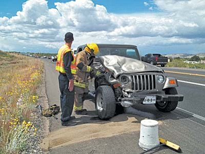 Two people were transported to the hospital after a two-vehicle collision on State Route 260. Courtesy Camp Verde FD