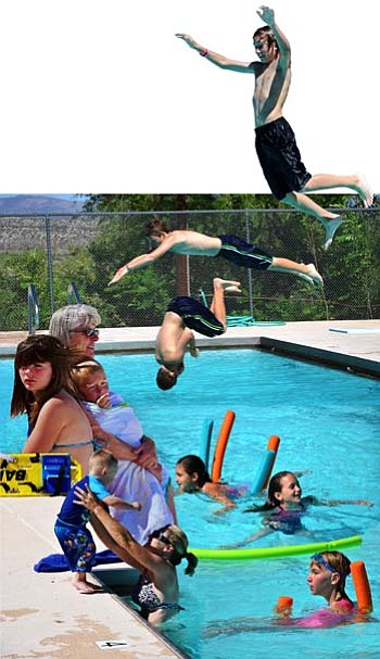 This is a collage of Clarkdale Pool patrons from June 6. The lifeguards, nor the laws of physics, would ever allow this to happen. VVN/Sean Morris
