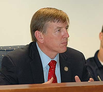 """Republican Congressman Paul Gosar testifies Tuesday at a meeting of a state House committee on forest health, blamed some """"extreme environmental groups"""" for killing the state's timber industry and, by extension, the resulting devastating fires. (Capitol Media Services photo by Howard Fischer)"""